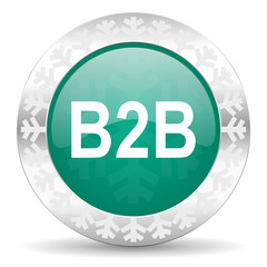 b2b green icon, christmas button
