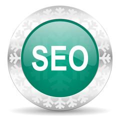 seo green icon, christmas button