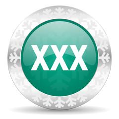 xxx green icon, christmas button, porn sign