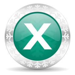 cancel green icon, christmas button