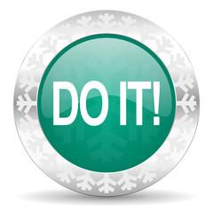 do it green icon, christmas button