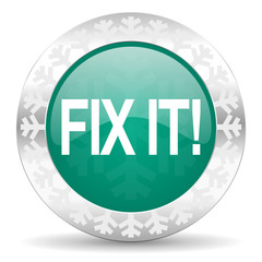fix it green icon, christmas button