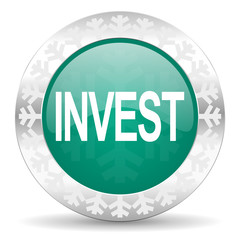 invest green icon, christmas button