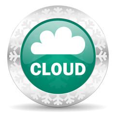 cloud green icon, christmas button