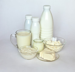 Dairy products: cottage cheese, yogurt, milk and fresh cheese