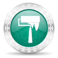 brush green icon, christmas button, paint sign