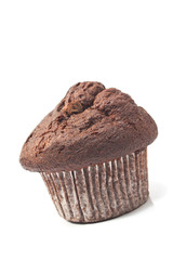 Muffin chocolate isolated on white