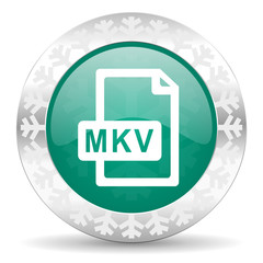 mkv file green icon, christmas button
