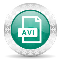 avi file green icon, christmas button