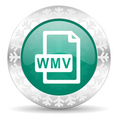 wmv file green icon, christmas button