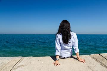 Young Woman at Lake Michigan