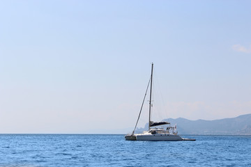 Sailing yacht sailing on the sea