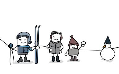 Famille à la neige - ski