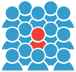 Group icon blue figures with one red