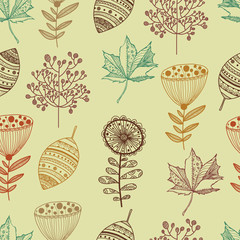 Cute seamless pattern with flowers and leaf