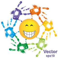 Vector hand print smiley sun
