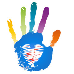 Conceptual children painted hand print and heart isolated