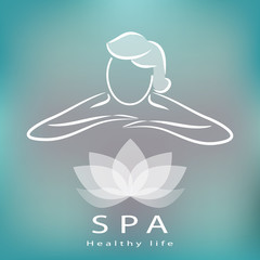 Spa icon, silhouette with position of rest and relaxation