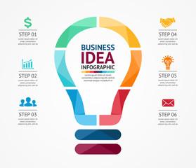Business idea infographic, light buble diagram