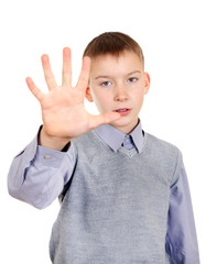 Kid with Stop hand gesture