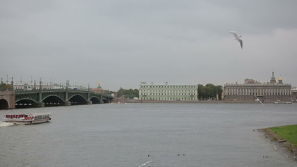 On the Neva River sailing pleasure boat for tourists