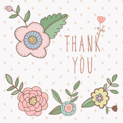 Thank you card. floral with text and flowers