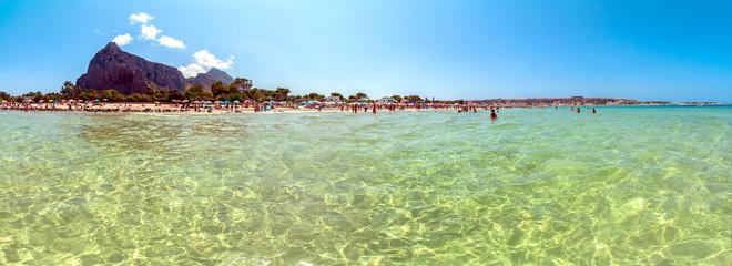 Beach and Mediterranean sea in San Vito Lo Capo, Sicily, Italy