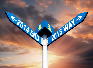 2014 end and 2015 way signs