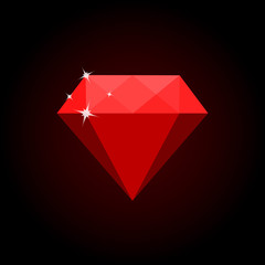 Red diamond isolated on black background. Vector illustration