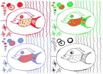 Drawing from hand of child, image of big fish