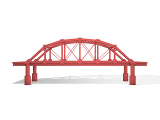 3d Rendered Red Truss Bridge Isolated on White (Series)