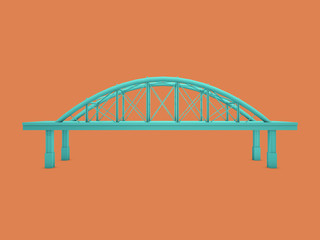 3d Rendered Bridge with Orange Background (Series)