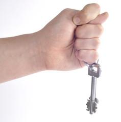 Жест фига и связка ключей на пальце