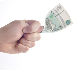 Жест Кукиш и деньги в кулаке
