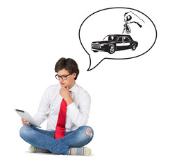 businessmen dreaming on new auto