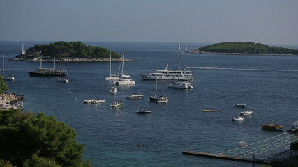 Bay with pleasure yachts in Croatia, Hvar island