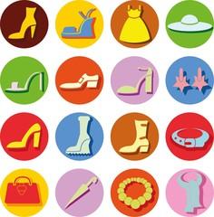 Векторные иконки женской одежды и аксессуаров
