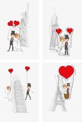 Свадебный фон, жених и невеста в разных странах