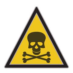 Warning sign with skull symbol