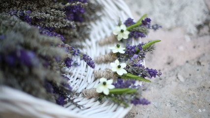 Bunch of lavender in a white basket