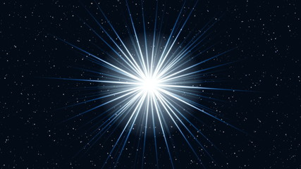 approach motion of a cosmos star with bright rays