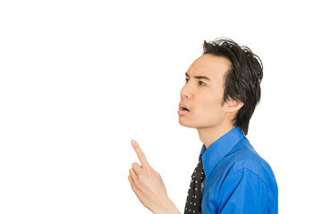 man in blue shirt pointing finger up he solved problem