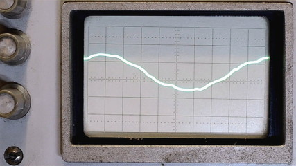 The sine wave on the oscilloscope screen of the old