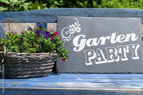 canvas print picture Kreidetafel mit Gartenparty