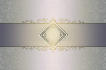 Decorative background with floral patterns and ornament.