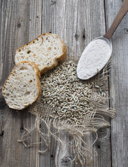 Rye seeds with slices of bread and flour