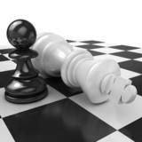 White pawn standing over fallen black king on chessboard