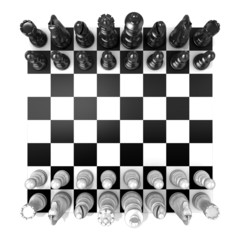 Chess Board with all chess pieces, isolated on white background