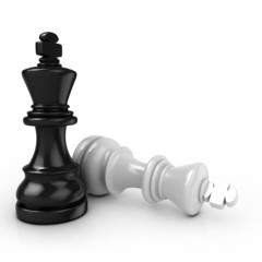 Black king chess mate, on white background