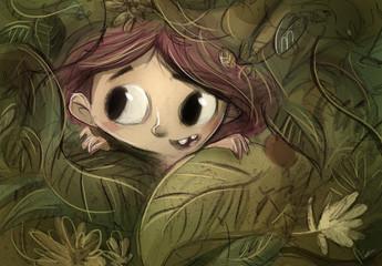 niña en la selva